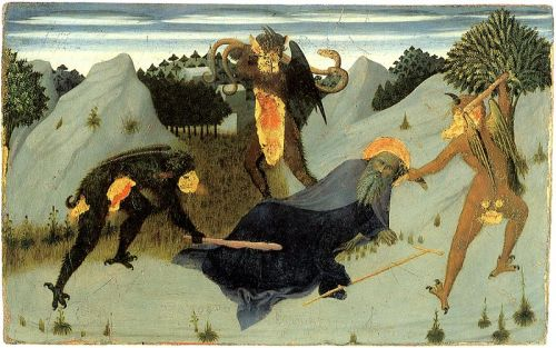 St. Anthony Beaten by Devils, panel from the Altarpiece of the Eucharist, 1423-26 (oil on panel) / by  Sassetta (Stefano di Giovanni di Consolo) (c.1392-1450)